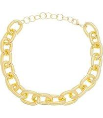 colar curto piuka irina elos correntes folheado a ouro 18k feminino - feminino