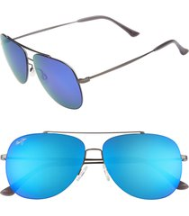 women's maui jim cinder cone 58mm polarizedplus2 aviator sunglasses - satin gunmetal/ blue hawaii