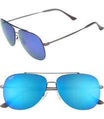 maui jim cinder cone 58mm polarizedplus2 aviator sunglasses - satin gunmetal/ blue hawaii