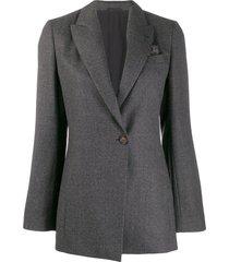 brunello cucinelli longline tailored blazer - grey