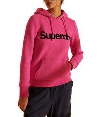 superdry women's core logo flock hoodie
