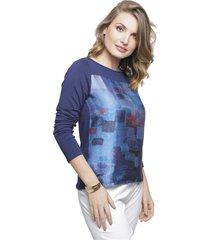 blusa sob estampada marinho e azul manga longa