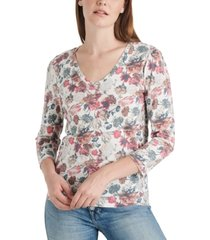 lucky brand printed 3/4-sleeve cotton top