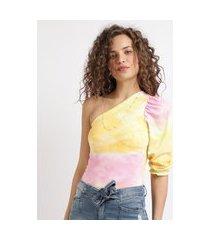 blusa feminina ombro só estampado tie dye manga 7/8 multicor
