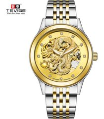 reloj, relojes mecánico automático luminoso-dorado