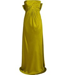 strapless charmeuse bow back gown