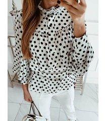 blusa de manga larga con lunares blancos cinturón diseño blusa de manga larga con ribete de volantes