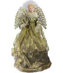 """northlight 16"""" lighted fiber optic angel in metallic gold gown with harp christmas tree topper"""