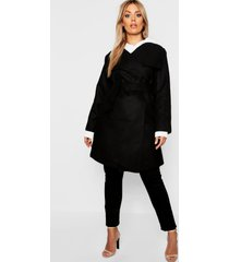 plus nepwollen wikkel jas, zwart