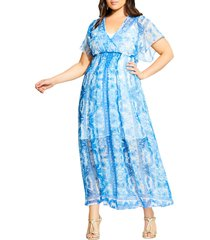 plus size women's city chic mykonos midi dress, size small - blue