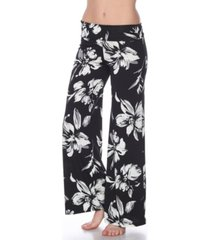 white mark flower print palazzo pants