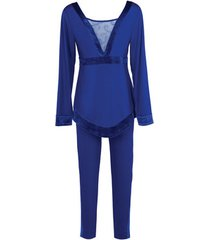 pyjama's / nachthemden lisca koninklijke wens blauwe leggings pyjama set