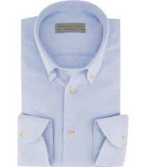overhemd john miller blauw linnen mix tailored fit