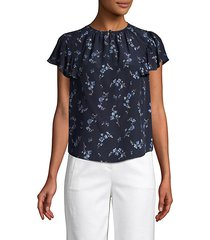 floral flutter-sleeve silk top