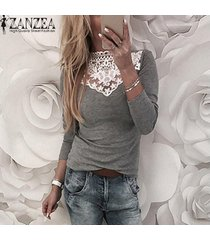 zanzea mujeres camiseta de manga larga de encaje elástico delgado croceht tapas de la camisa ocasional del remiendo de la blusa -gris