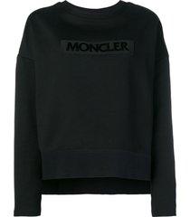 moncler embroidered logo sweatshirt - black