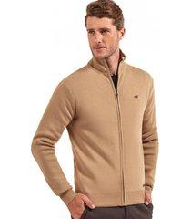 sweater básico con cierre beige ferouch
