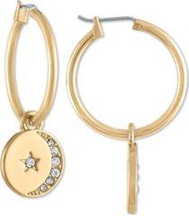 rachel rachel roy gold-tone pave moon & star disc hoop earrings