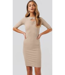na-kd party chest detail dress - beige