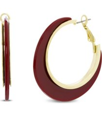 catherine malandrino resin post clip hoop earring in yellow gold-tone alloy