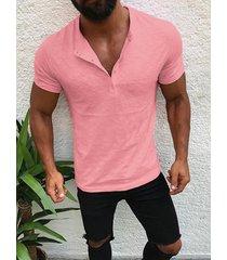 hombre botón diseño camiseta casual de manga corta