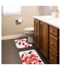jogo tapetes para banheiro 2 peças sheets red único