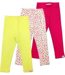 kit 3pçs calça pandi legging básica multicolorido