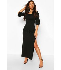 off shoulder frill cuff maxi dress, black