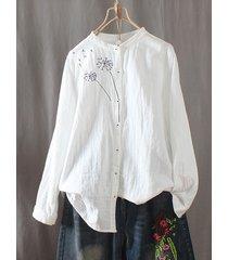 camicia vintage ricamata manica lunga collo ricamata