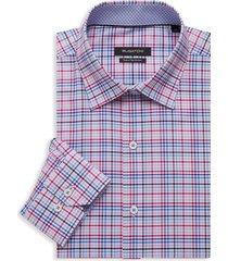 bugatchi men's regular-fit check dress shirt - pink - size 17