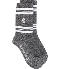 alexander mcqueen skull knitted socks - metallic