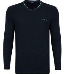 suéter tricot navy gola v - kanui