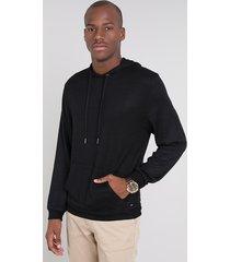 blusão masculino em tricô com bolso e capuz preto