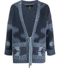 alanui wool patterned cardigan kimono with front tie - blue