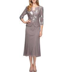 women's alex evenings sequin midi dress with jacket, size 16 - grey
