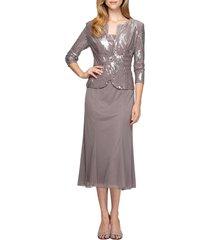 women's alex evenings sequin midi dress with jacket, size 14 - grey