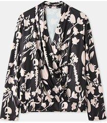 camicetta base casual a maniche lunghe con scollo a v con stampa floreale dei cartoni animati per donna