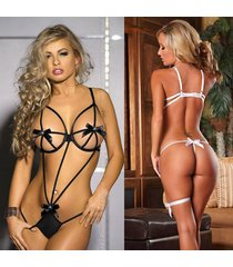 hot black bow teddy erotic lingerie sexy costumes temptation lenceria transparen