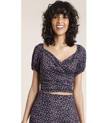 blusa feminina mindset cropped transpassada estampada de poá manga curta decote v preta