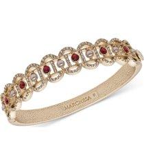 marchesa gold-tone pave, stone & imitation pearl filigree bangle bracelet