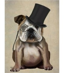 "fab funky english bulldog, formal hound and hat canvas art - 36.5"" x 48"""