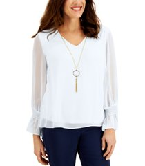 jm collection petite smocked-sleeve necklace top, created for macy's