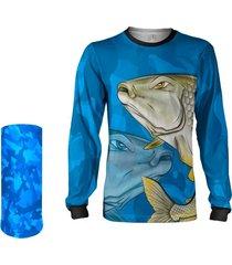 camisa + máscara pesca quisty piapara a lutadora das águas camuflado proteção uv dryfit infantil/adulto - camiseta de pesca quisty
