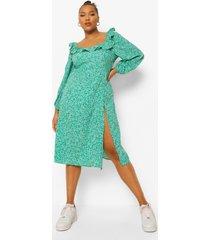 plus bloemenprint midi jurk met vierkante hals, green