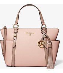 mk borsa tote sullivan piccola in pelle saffiano bicolore con zip superiore - rosa tenue/marrone chiaro (rosa) - michael kors