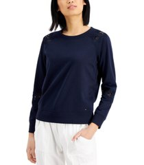 tommy hilfiger lace-inset top