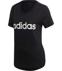 camiseta adidas estampa logo slim feminina dp2361, cor: preto/branco, tamanho: g - preto - feminino - dafiti