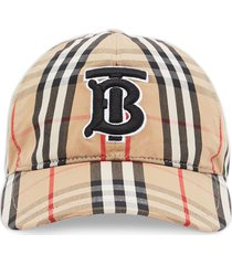 burberry monogram motif check print baseball cap - neutrals