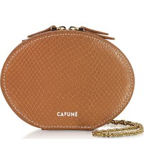 cafuné designer handbags, caramel leather egg chain shoulder bag