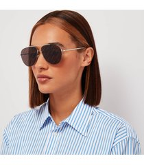 balenciaga women's logo lense metal aviator sunglasses - silver/grey